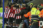 Brentford fans mop the players after  Brentford Lasse Vibe (21) scores his goal 1-0 second half during the EFL Sky Bet Championship match between Reading and Brentford at the Madejski Stadium, Reading, England on 20 January 2018. Photo by Gary Learmonth.