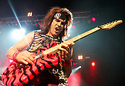 LONDON, ENGLAND - MARCH 31:  Satchel of Steel Panther performs live on stage at Brixton Academy on March 31, 2012 in London, United Kingdom.  (Photo by Simone Joyner/Redferns via Getty Images) *** Local Caption *** Satchel