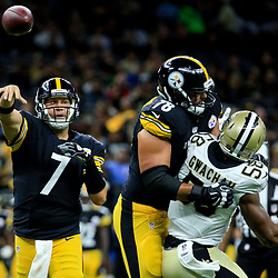 Aug 26, 2016; New Orleans, LA, USA;  Pittsburgh Steelers quarterback Ben Roethlisberger (7) throws against the New Orleans Saints during the first half of a preseason game at Mercedes-Benz Superdome. Mandatory Credit: Derick E. Hingle-USA TODAY Sports