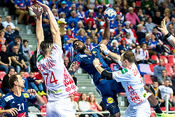 12.05.2017, Zatika Sport Centre, Porec, CRO, EHF EM, Herren, Frankreich vs Weissrussland, Gruppe B, im Bild Dika Mem (FRA) // during the preliminary round, group B match of the EHF men's Handball European Championship between France and Belarus at the Zatika Sport Centre in Porec, Croatia on 2017/05/12. EXPA Pictures © 2018, PhotoCredit: EXPA/ Sebastian Pucher