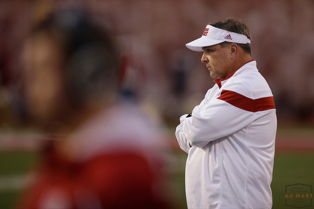 18 October 2014: Indiana Hoosiers head coach Kevin Wilson as the Indiana Hoosiers played the Michigan State Spartans in an NCAA college football game in Bloomington, Ind.
