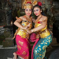 Rahwana's nice Trijata and Sita princess characters of the Taman Kaja troup  posing after a show in Pura Dalem, Ubud, Bali, Indonesia