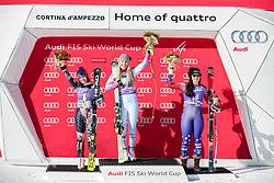 20.01.2018, Olympia delle Tofane, Cortina d Ampezzo, ITA, FIS Weltcup Ski Alpin, Abfahrt, Damen, Siegerehrung im Bild v.l: Tina Weirather (LIE, 2. Platz), Siegerin Lindsey Vonn (USA), Jacqueline Wiles (USA, 3. Platz) // f.l.: 2nd placed Tina Weirather of Liechtenstein, Winner Lindsey Vonn of the USA, 3rd placed Jacqueline Wiles of the USA during the Winner Award Ceremony of ladie' s downhill of the Cortina FIS Ski Alpine World Cup at the Olympia delle Tofane course in Cortina d Ampezzo, Italy on 2018/01/20. EXPA Pictures © 2018, PhotoCredit: EXPA/ Dominik Angerer