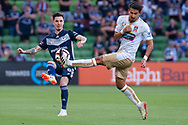 SYDNEY, NSW - JANUARY 12: Melbourne Victory defender Storm Roux (2) passes the ball at the Hyundai A-League Round 13 soccer match between Melbourne Victory and Newcastle Jets at AAMI Park in VIC, Australia 12 January 2019. (Photo by Speed Media/Icon Sportswire)