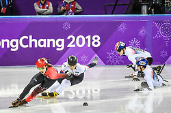 February 17, 2018 - Pyeongchang, Gangwon, South Korea - Seo Yira of  South Korea, Samuel Girard of  Canada, Lim Hyojun of  South Korea and John-Henry Krueger of  United States competing in 1000 meter speed skating at Gangneung Ice Arena, Gangneung, South Korea on 17 February 2018. (Credit Image: © Ulrik Pedersen/NurPhoto via ZUMA Press)