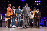 02 April 2013: Retired Los Angeles Lakers center (34) Shaquille O'Neal, center, stands with his family during the Shaquille O'Neal jersey retirement ceremony during halftime of  the Lakers 101-81 victory over the Dallas Mavericks at the STAPLES Center in Los Angeles, CA.