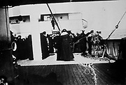 Survivors of TITANIC on CARPATHIA. Date Created/Published: [1912 April]. Summary: Photo related to the disaster of the RMS TITANIC, which struck an iceberg in April 1912 and sank, killing more than 1,500 people.