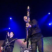 Fall Out Boy. Patrick Stump (L) on vocals and Pete Wentz (R) on bass .