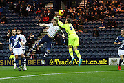 Preston North End Defender Tom Clarke challenges during the Sky Bet Championship match between Preston North End and Birmingham City at Deepdale, Preston, England on 15 December 2015. Photo by Pete Burns.
