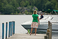 Boaters and visitors keep the Wolfeboro docks busy during the summer season.  (Karen Bobotas/Photographer)