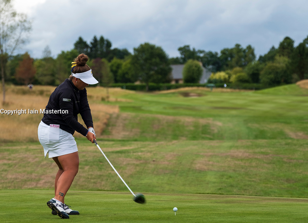 Gleneagles, Scotland, UK; 8 August, 2018.  European Championships 2018. Day one of golf competition at Gleneagles..Men's and Women's Team Championships Round Robin Group Stage - 1st Round. Four Ball Match Play format. Match 13 Great Britain 2 v Sweden 1 Ladies. Catriona Matthew and Holly Clyburn won 3 and 2. Lina Boquist of Sweden 1 tees off on the 14th hole