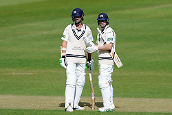 Middlesex's James Franklin and Adam Voges - Photo mandatory by-line: Harry Trump/JMP - Mobile: 07966 386802 - 29/04/15 - SPORT - CRICKET - LVCC Division One - County Championship - Somerset v Middlesex - Day 4 - The County Ground, Taunton, England.