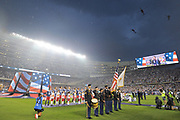 CHICAGO, IL - AUGUST 02: Helicopters fly over during the national anthem prior to a soccer match between the MLS All-Stars and Real Madrid on August 2, 2017, at Soldier Field, in Chicago, IL. (Photo by Patrick Gorski/Icon Sportswire)