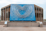 A blue dilapidated statue by Yaacov Agam at Shaare Hesed Neighbourhood, Jerusalem, Israel