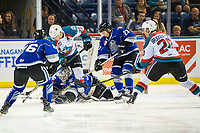 KELOWNA, CANADA - AUGUST 31: Conner Bruggen-Cate #20 and Leif Mattson #28 of the Kelowna Rockets attempt to put the puck in the net of Dean McNabb #35 while checked by Tyler Lees #26 and Parker Malchuk #23 of the Victoria Royals during first period on August 31, 2018 at Prospera Place in Kelowna, British Columbia, Canada.  (Photo by Marissa Baecker/Shoot the Breeze)  *** Local Caption ***