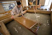 Pan Asia Paper Museum. Han-ji (traditional Korean paper from mulberry bark) making demonstration.