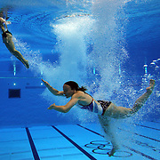 Alicia Blagg, and Rebecca  Gallantree, Great Britain, in action during the Women's Synchronised 3m springboard diving competition at the Aquatic Centre at Olympic Park, Stratford during the London 2012 Olympic games. London, UK. 29th July 2012. Photo Tim Clayton