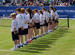 LIVERPOOL, ENGLAND - Sunday, June 21, 2015: Ball boys and girls during Day 4 of the Liverpool Hope University International Tennis Tournament at Liverpool Cricket Club. (Pic by David Rawcliffe/Propaganda)