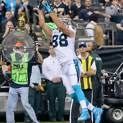 Dec 6, 2015; New Orleans, LA, USA; Carolina Panthers tight end Greg Olsen (88) catches a pass against the New Orleans Saints during the first half of a game at Mercedes-Benz Superdome. Mandatory Credit: Derick E. Hingle-USA TODAY Sports