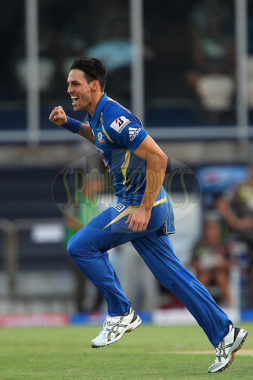 Mitchell Johnson celebrates the wicket of Akshath Reddy during match 43 of the Pepsi Indian Premier League between The Sunrisers Hyderabad and Mumbai Indians held at the Rajiv Gandhi International  Stadium, Hyderabad  on the 1st May 2013..Photo by Ron Gaunt-IPL-SPORTZPICS ..Use of this image is subject to the terms and conditions as outlined by the BCCI. These terms can be found by following this link:..http://www.sportzpics.co.za/image/I0000SoRagM2cIEc