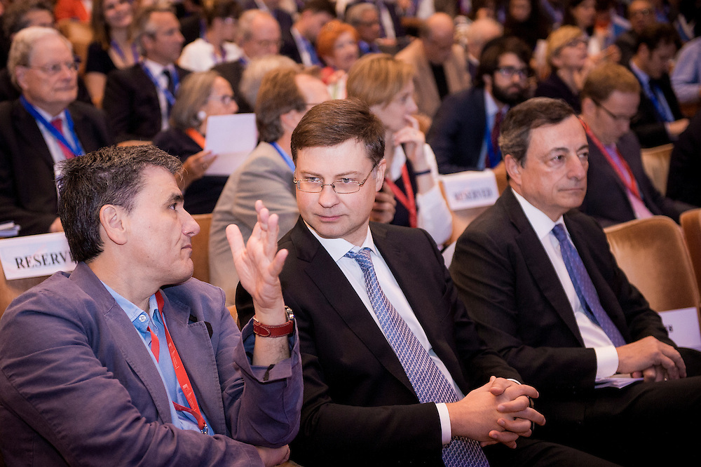 Brussels, Belgium, 9 June 2016<br /> Brussels Economic Forum 2016.<br /> Euclid Tsakalotos, Valdis Dombrovskis and Mario Draghi.<br /> The Brussels Economic Forum (BEF) is the flagship annual economic event of the European Commission.<br /> The BEF brings together top European and international policymakers and opinion leaders as well as civil society and business leaders. It is the place to take stock of economic developments, identify key challenges and debate policy priorities.<br /> Photo: European Commission / Ezequiel Scagnetti