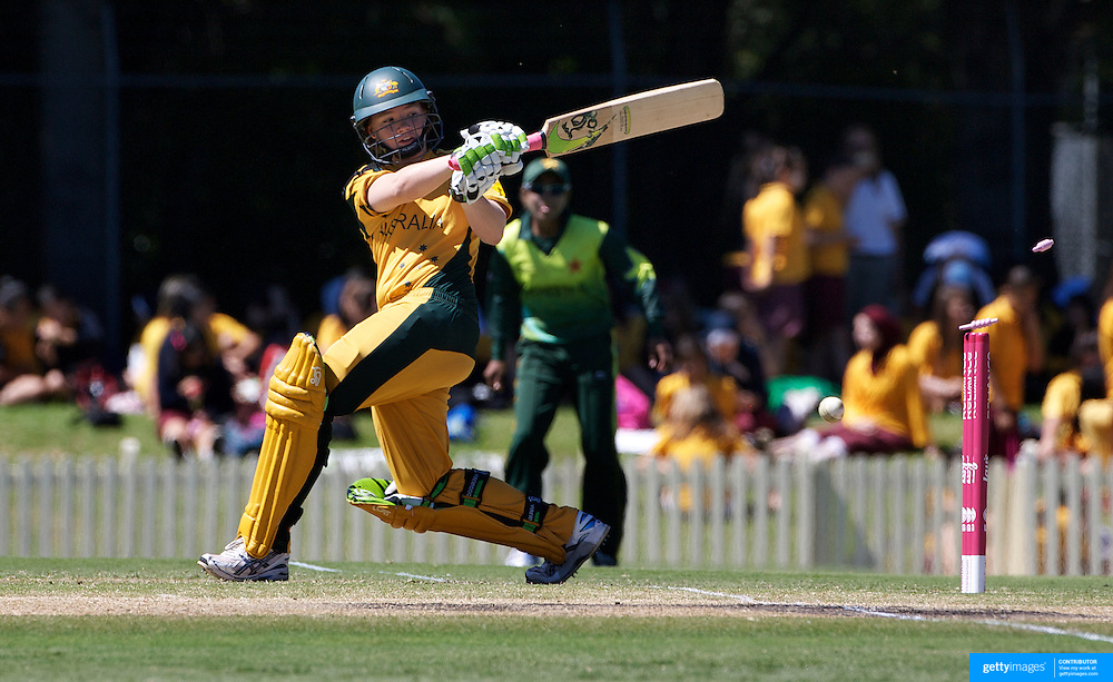 Jessica Cameron is bowled by Almas Akram for 3 runs during the match between Australia and Pakistan in the Super 6 stage of the ICC Women's World Cup Cricket tournament at Bankstown Oval, Sydney, Australia on March 16 2009, Australia won the match by 107 runs. Photo Tim Clayton