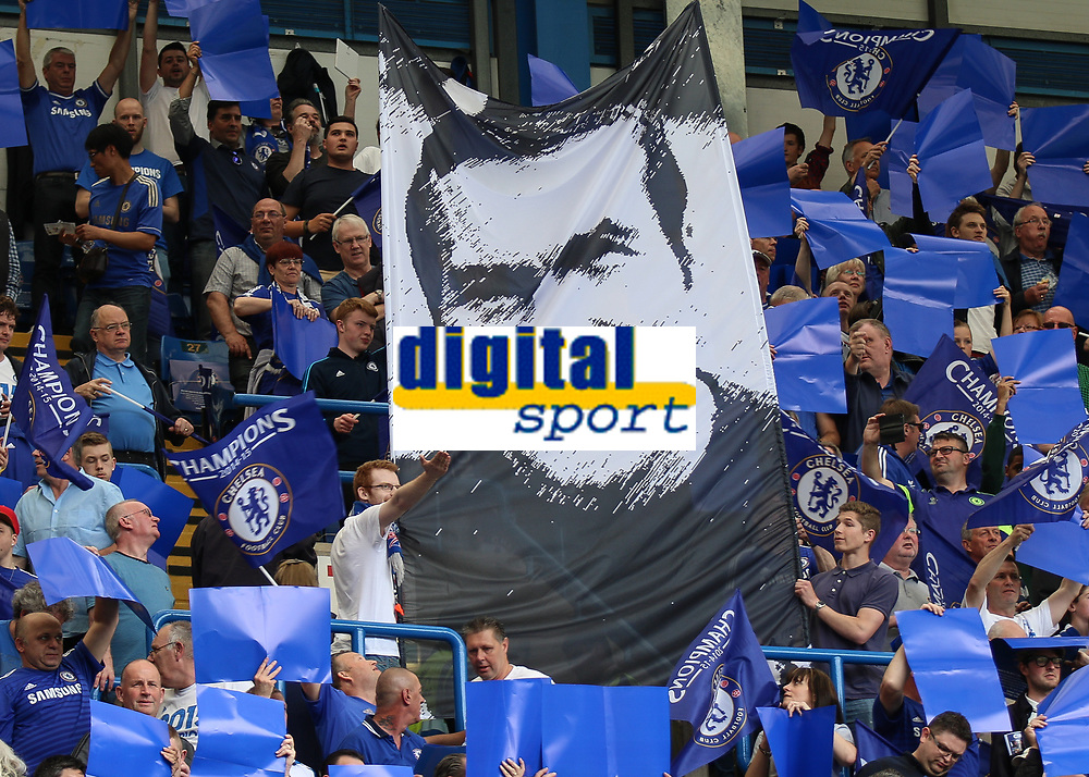 Football - 2014 / 2015 Premier League - Chelsea vs. Sunderland.   <br /> <br /> The face face of Ron Harris displayed on a legends flag ahead of the game at Stamford Bridge. <br /> <br /> COLORSPORT/DANIEL BEARHAM