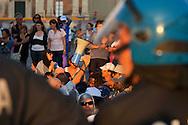 Roma, 3 Ottobre 2012.Manifestazione per il diritto all'abitare e contro la vendita del patrimonio comunale..I manifestanti in corteo tentano di arrivare in Campidoglio da Piazza Venezia dopo il divieto di accedere alla piazza del Campidoglio  ma vengono bloccati dalla Polizia...