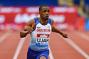 Chijindu Ujah of Great Britain wins the Men's 100m during the Muller Grand Prix Birmingham 2017 at the Alexander Stadium, Birmingham, United Kingdom on 20 August 2017. Photo by Martin Cole.