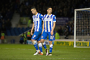 Brighton central midfielder, Beram Kayal (7) and Brighton striker, Anthony Knockaert (27) after the 4th goal during the Sky Bet Championship match between Brighton and Hove Albion and Queens Park Rangers at the American Express Community Stadium, Brighton and Hove, England on 19 April 2016. Photo by Phil Duncan.