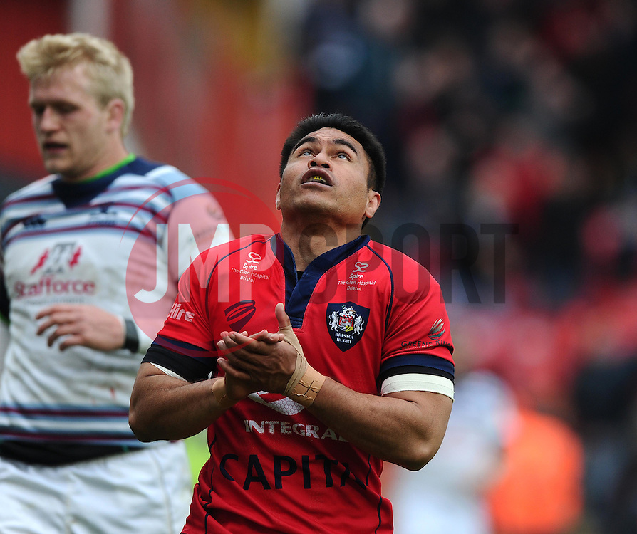 Bristol Winger David Lemi celebrates a try after great work by Bristol replacement Nicky Robinson  - Photo mandatory by-line: Joe Meredith/JMP - Mobile: 07966 386802 - 02/05/2015 - SPORT - Rugby - Bristol - Ashton Gate - Bristol Rugby v Rotherham - Greene King IPA Championship