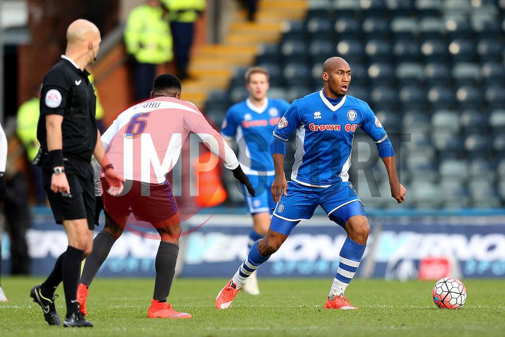 Calvin Andrew of Rochdale and Kelvin Etuhu of Bury  - Mandatory byline: Matt McNulty/JMP - 06/12/2015 - Football - Spotland Stadium - Rochdale, England - Rochdale v Bury - FA Cup
