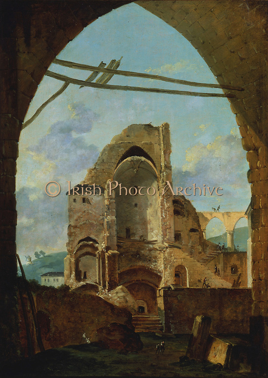 Demolition of the Abbey of Montmartre': Louis Gabriel Moreau (c1740-c1806), French painter and etcher.  During the French Revolution the Abbey buildings were virtually demolished. The remains were so derelict by the mid-19th century that complete destruction was proposed. Between 1899-1905 a major restoration programme took place.