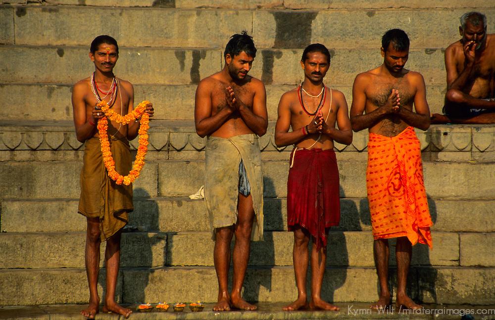 Asia, India, Varanasi. Worshipers at the Ganges River in Varanasi.