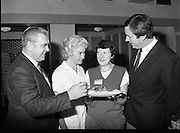 Housewife Of The Year Regional Final..1986..03.11.1986..11.03.1986..3rd November 1986..The Calor/Kosangas sponsored Housewife Of The Year competition was held in the Gresham Hotel,Dublin. The Dublin Regional Final was won by Mrs Patricia Connolly from Clane,Co Kildare...Pictured at the regional final were Mr Paddy Byrne,Area Sales Manager,Calor Kosangas, Mrs Elizabeth Boyhan,one of the judges,Mrs Ann Murphy,Swords,Co Dublin,a finalist and Mr Noel Cullen one of the cookery judges.