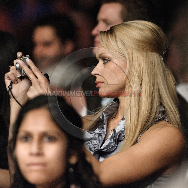 "LONDON, ENGLAND, FEBRUARY 21, 2009: Ali Sonoma attended to support Diego Sanchez during ""UFC 95: Sanchez vs. Stevenson"" inside the O2 Arena in Greenwich, London."
