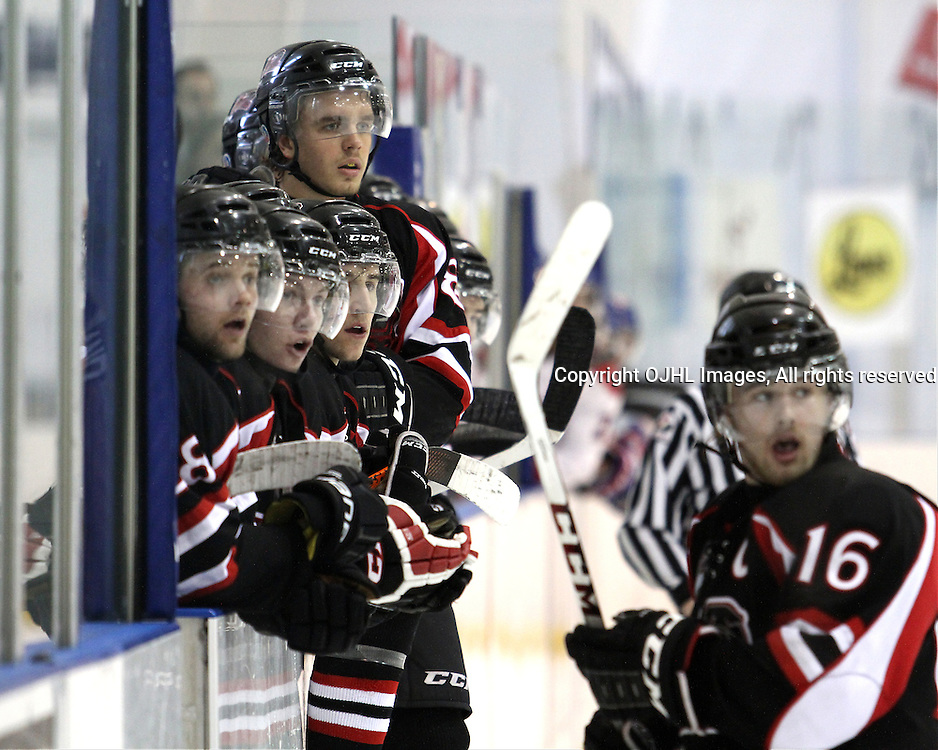 KINGSTON,ON-Mar 2 :<br />  Ontario Junior Hockey League, OJHL North East Conference playoff series round one, Kingston Voyageurs vs Pickering Panthers. Brodie Tutton #88 of the Pickering Panthers Hockey Club looks &amp;  Mike Walker #16 of the Pickering Panthers Hockey Club on with teammates during second period game action. (Photo by Robert John Boucher / OJHL Images)