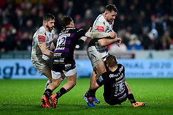 Sam Hill of Exeter Chiefs is challenged by Callum Braley of Gloucester Rugby - Mandatory by-line: Ryan Hiscott/JMP - 14/02/2020 - RUGBY - Kingsholm - Gloucester, England - Gloucester Rugby v Exeter Chiefs - Gallagher Premiership