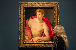 "© Licensed to London News Pictures. 28/02/2019. LONDON, UK. A staff member views ""Saint Sebastian"" c1533 by Agnolo Bronzino. Preview of ""The Renaissance Nude"", an exhibition at the Royal Academy of Arts in Piccadilly of 90 works examining the emergence of the nude in European art.  Works by artists including Leonardo da Vinci to Michelangelo are on display in the Sackler Galleries 3 March to 2 June 2019.  Photo credit: Stephen Chung/LNP"