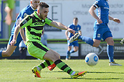 Forest Green Rovers midfielder Fabien Robert (26) shoots at goal 0-0 during the Vanarama National League match between Forest Green Rovers and North Ferriby United at the New Lawn, Forest Green, United Kingdom on 1 April 2017. Photo by Alan Franklin.