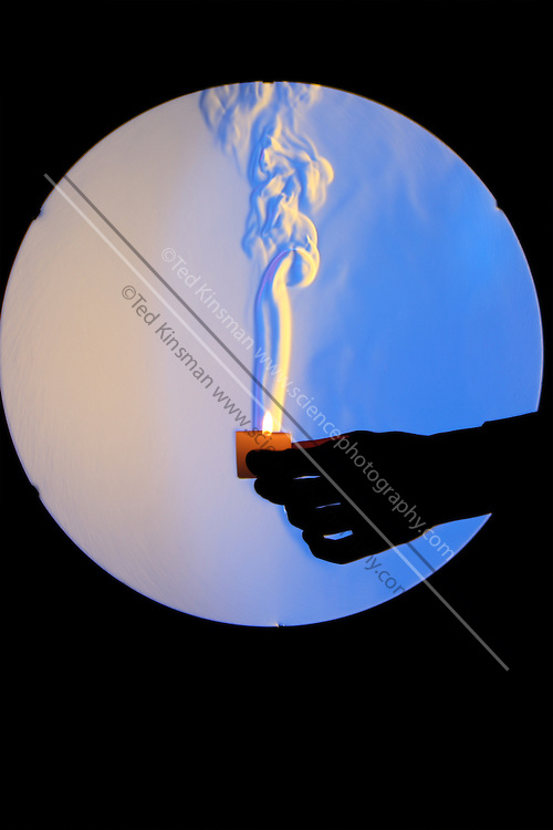 A schlieren image of a candle.  The schlieren images identifies areas of different temperature by using the change in the index of refraction of a fluid due to a change in temperature.