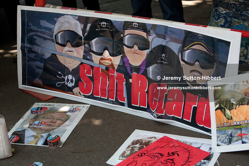 Japanese right wing vopice their support for whaling and protest against Sea Shepherd's Pete Bethune outside his trial (where he faces charges including criminal damage and tresspass after boarding a Japanese whaling ship in the Southern Ocean)  in Tokyo, Japan, Thursday 10th June 2010.