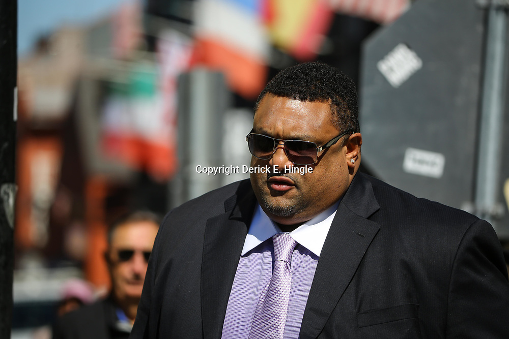 Hall of Fame offensive tackle Willie Roaf arrives at the funeral service for NFL New Orleans Saints owner and NBA New Orleans Pelicans owner Tom Benson in New Orleans, Friday, March 23, 2018. Benson died last Thursday at the age of 90. (AP Photo/Derick Hingle)