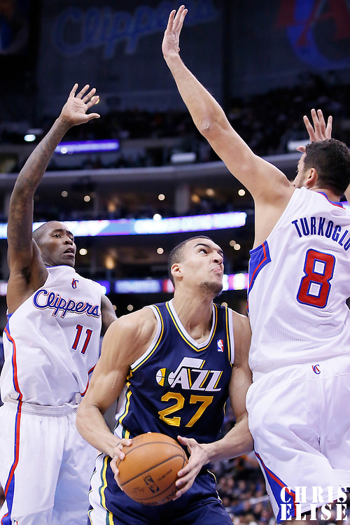 01 February 2014: Los Angeles Clippers shooting guard Jamal Crawford (11) and Los Angeles Clippers small forward Hedo Turkoglu (8) defend on Utah Jazz center Rudy Gobert (27) during the Los Angeles Clippers 102-87 victory over the Utah Jazz at the Staples Center, Los Angeles, California, USA.