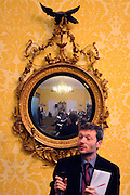 © Licensed to London News Pictures. 22/05/2013. Westminster, UK. The conference reflected in a mirror whilst a journalist asks a question. Deputy Prime Minister Nick Clegg makes a speech and holds an extended media Q&A on Wednesday 22 May 2013 at Admiralty House, Whitehall. He spoke about the coalition governing until 2015. Photo credit : Stephen Simpson/LNP