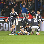 Dundee&rsquo;s Nick Ross is congratulated after scoring the winner - Dundee v Dundee United, Ladbrokes Premiership at Dens Park<br /> <br />  - &copy; David Young - www.davidyoungphoto.co.uk - email: davidyoungphoto@gmail.com