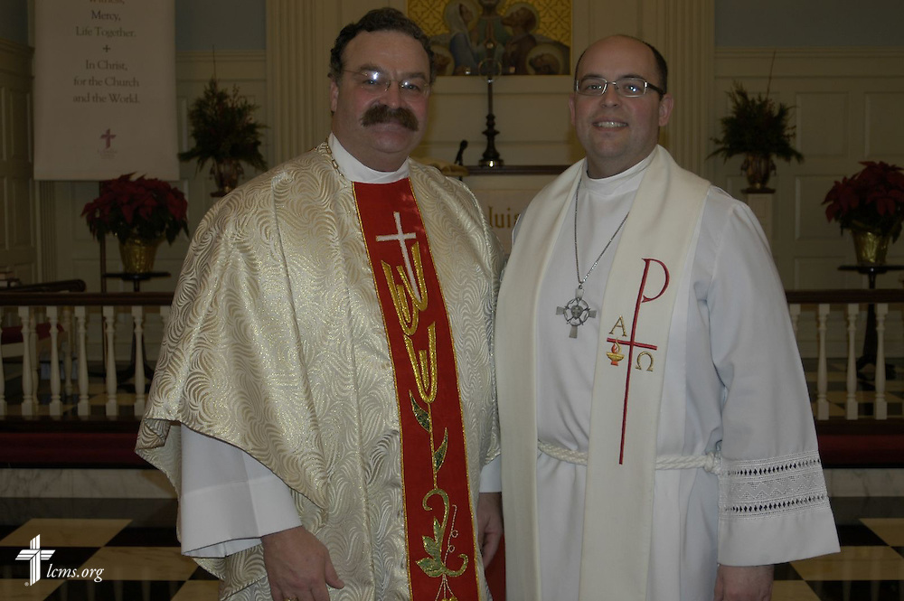 LCMS President Rev. Matthew C. Harrison, left, assistant pastor of Village Lutheran, and Dr. Kevin Golden, pastor of Village Lutheran.