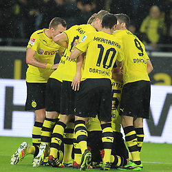 01.11.2013, Signal Iduna Park, Dortmund, GER, 1. FBL, Borussia Dortmund vs VfB Stuttgart, 11. Runde, im Bild Dortmunder Torjubel nach dem 1:1 Kopfball Treffer durch Sokratis #25 (Borussia Dortmund), Emotion, Freude, Glueck, Positiv // during the German Bundesliga 11th round match between Borussia Dortmund and VfB Stuttgart at the Signal Iduna Park in Dortmund, Germany on 2013/11/02. EXPA Pictures © 2013, PhotoCredit: EXPA/ Eibner-Pressefoto/ Schueler<br /> <br /> *****ATTENTION - OUT of GER*****