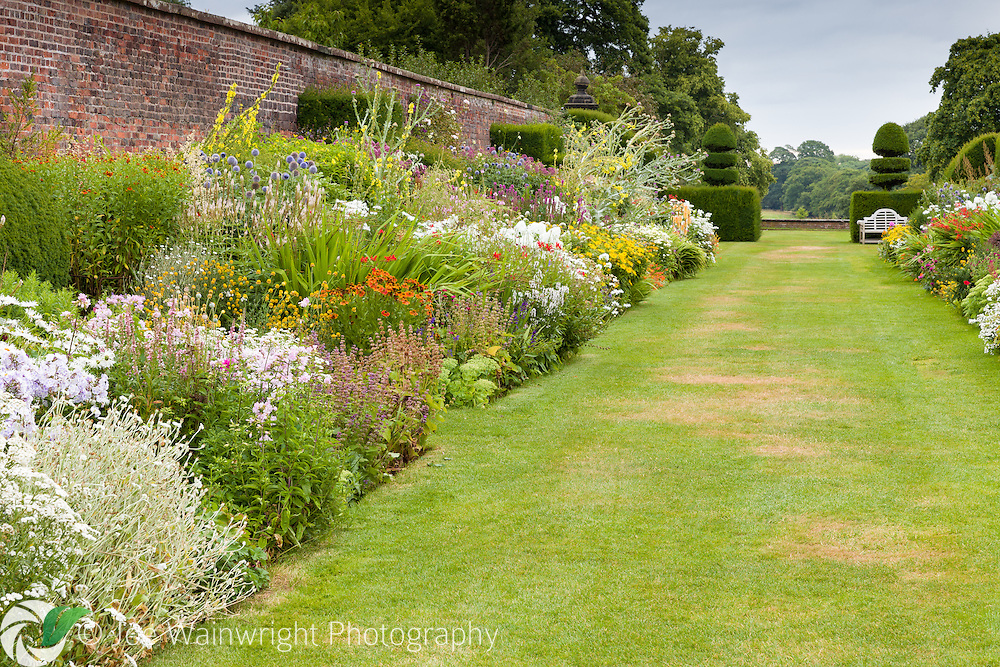 The northern section of the double herbaceous borders at Arley Hall and Gardens, Cheshire