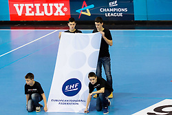 EHF Logo during the handball match between RK Gorenje Velenje and SG Flensburg-Handewitt (GER) in 10th Round of EHF Champions League 2013/14 on February 22, 2014 in Rdeca dvorana, Velenje, Slovenia. Photo by Vid Ponikvar / Sportida